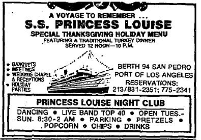 Image of an ad for SS Princess Louise 1983